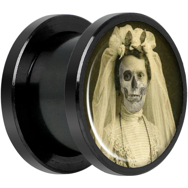 Undead Bride and Groom Halloween Black Anodized Plug Set 1/2