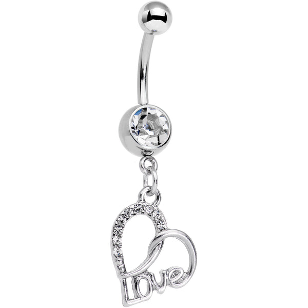 Clear Gem Love in Your Heart Dangle Belly Ring