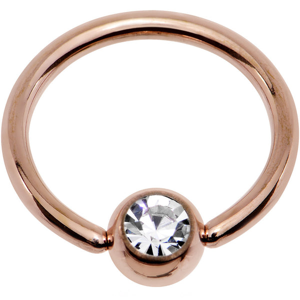 "14 Gauge 1/2"" Clear Gem 5mm Ball Rose Gold IP Steel BCR Captive Ring"