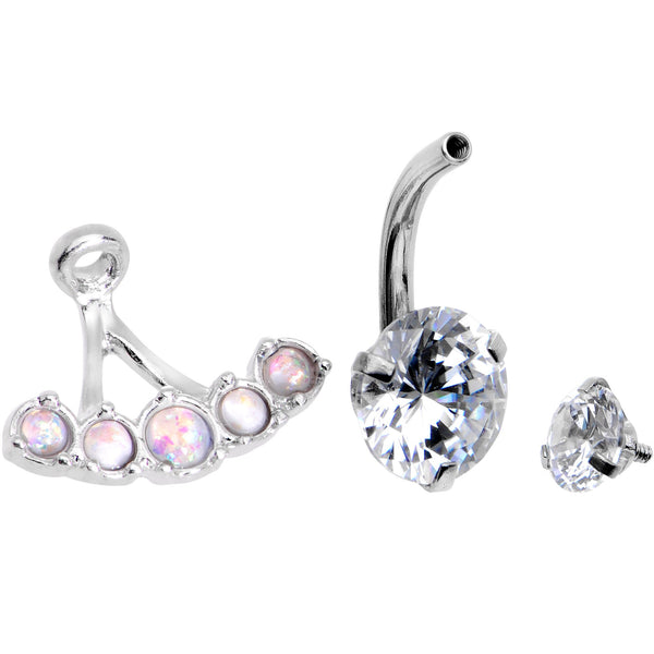 White Faux Opal Clear CZ Gem Sassy Fashions Dangle Belly Ring