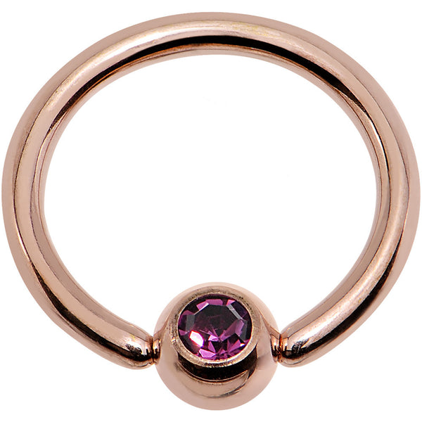 16 Gauge 5/16 Purple Gem 3mm Ball Rose Gold IP Steel BCR Captive Ring