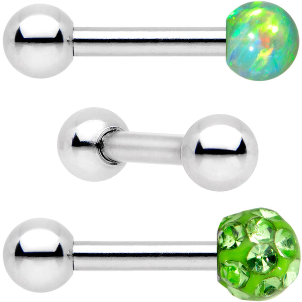 16 Gauge 1/4 Lime Faux Opal Ball Cartilage Tragus Earring 3 Pack Set