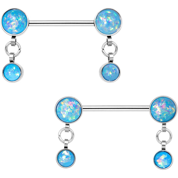 Aqua Faux Opal Inlay Dangle Barbell Nipple Ring Set
