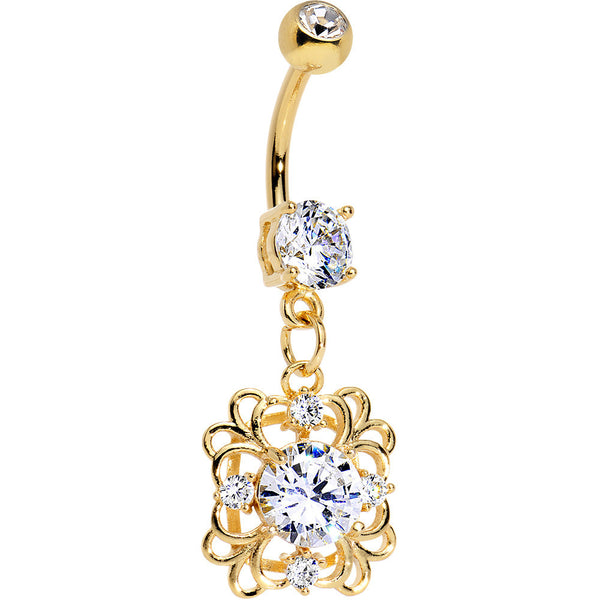 Clear CZ Gem Gold Plated Steel Blooming Flower Dangle Belly Ring