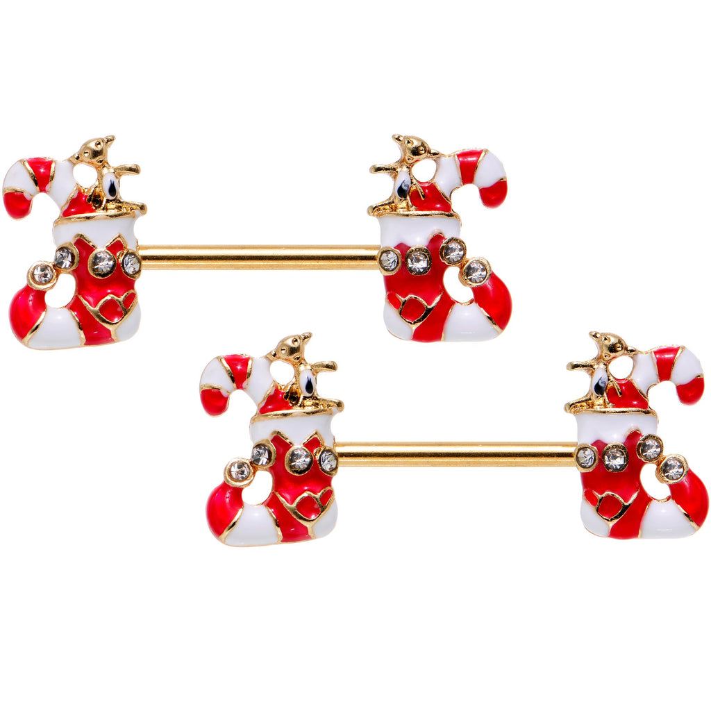 Christmas Candy.Clear Gem Gold Pvd Christmas Candy Cane Barbell Nipple Ring Set