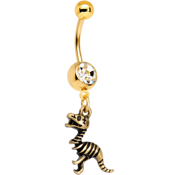 Clear Gem Gold Tone Anodized Raptor Bones Dinosaur Dangle Belly Ring