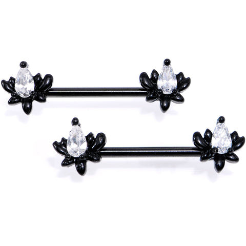 White Gem Black Anodized Fiery Flame Barbell Nipple Ring Set