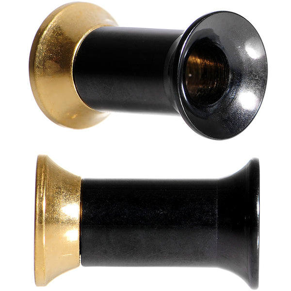 6 Gauge Black and Gold IP Subtle Style Screw Fit Tunnel Plug Set