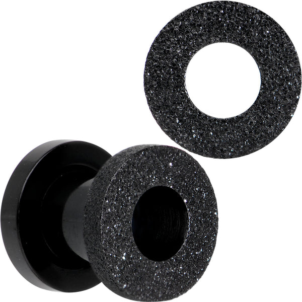 Black PVD Sandblasted Screw Fit Tunnel Plug Set 5mm to 16mm