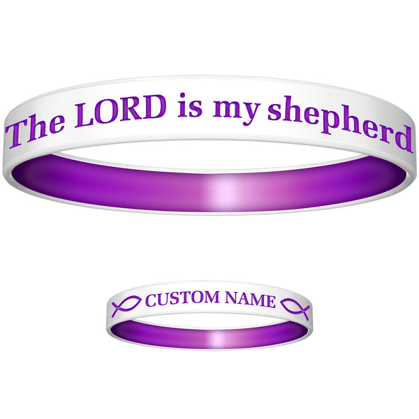 Personalized White Purple Lord Silicone Religious Message Bracelet