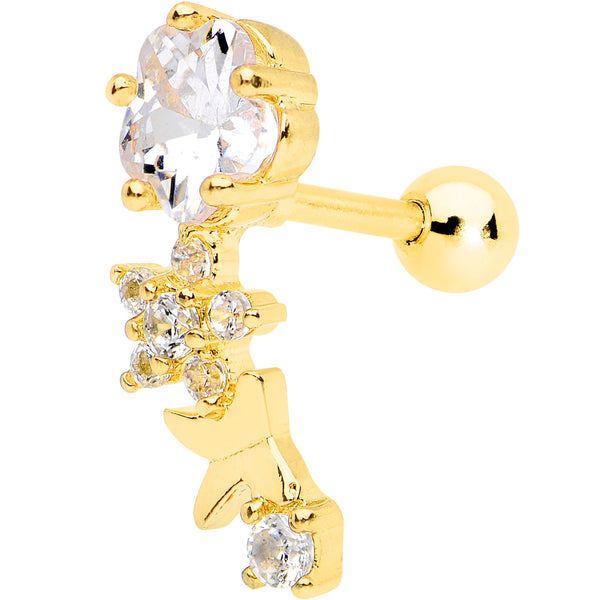 1/4 Clear CZ Gem Gold Tone Anodized Cascade Right Cartilage Earring
