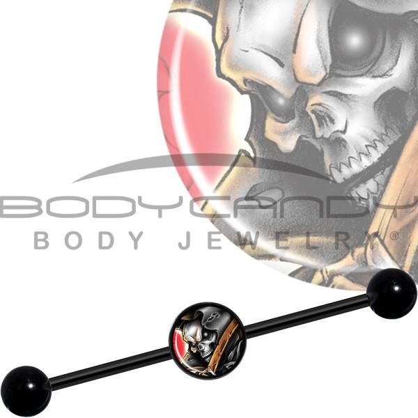 14 Gauge Wake the Dead Grim Reaper Halloween Black Industrial Barbell 37mm