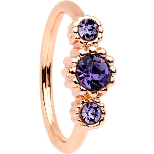 20 Gauge Purple CZ Gem Rose Gold IP Triplet Seamless Circular Ring