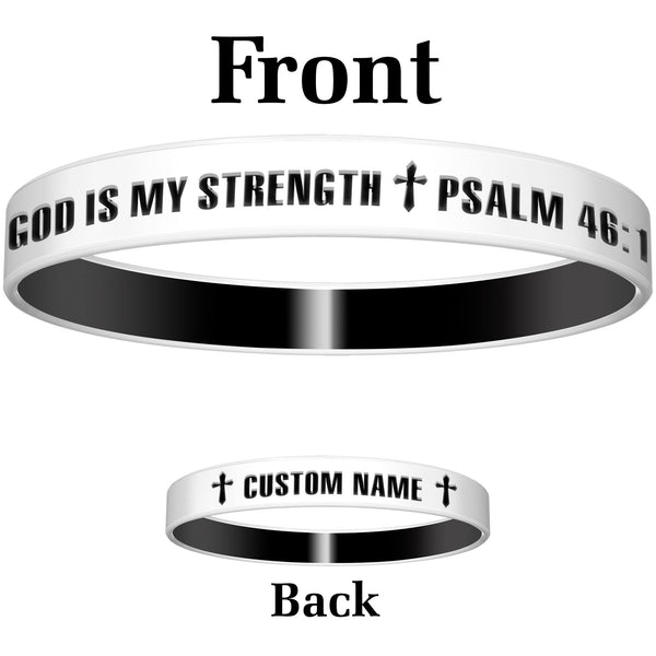 Personalized White Black God Silicone Religious Message Bracelet