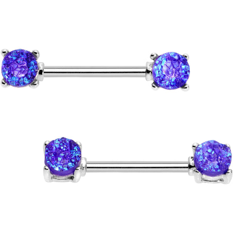 "14 Gauge 9/16"" Purple Faux Opal Steel Barbell Nipple Ring Set"