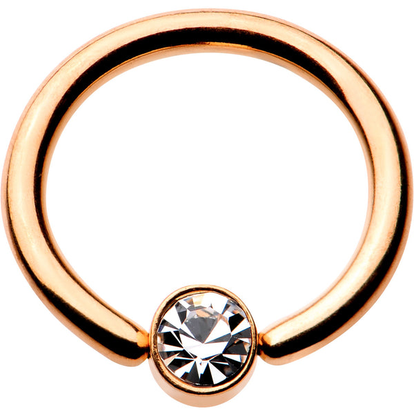 16 Gauge 5/16 Clear Gem 3mm Disc Rose Gold IP BCR Captive Ring