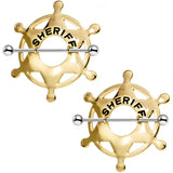 14 Gauge 35mm Gold Hue Star Sheriff Badge Nipple Shield Set