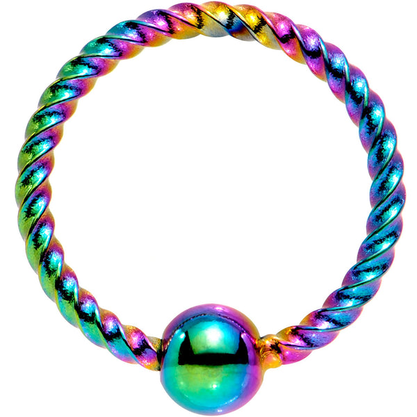 18 Gauge 5/16 Rainbow Anodized So Twisted Captive Style Seamless Ring