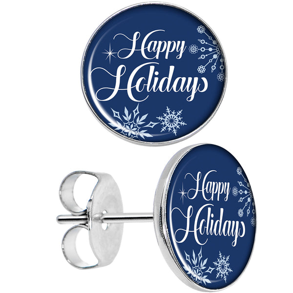 Happy Holidays Snowflake Stud Earrings