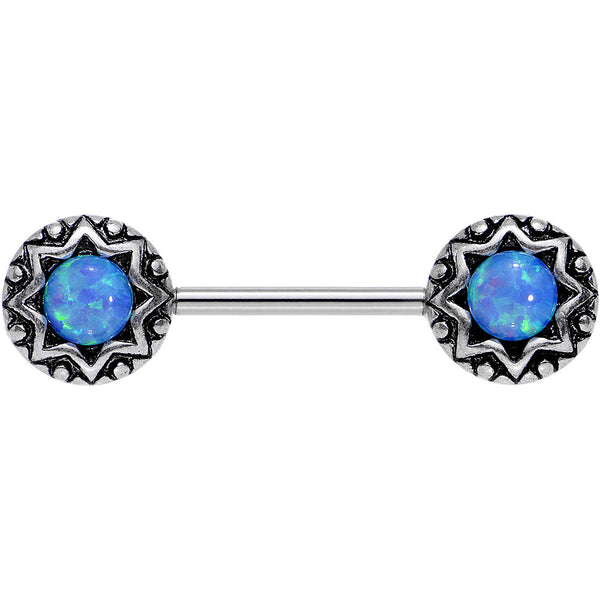 "14 Gauge 5/8"" Blue Synthetic Opal Lotus Flower Nipple Barbell Set"