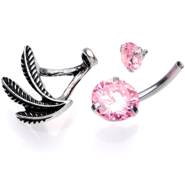 Pink Gem Feather Trio Dangle Belly Ring