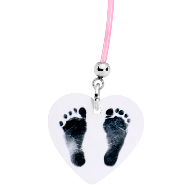Handcrafted Pink Precious Footprints Dangle Pregnancy Belly Ring