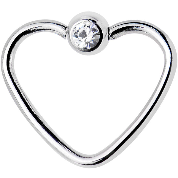 18 Gauge 3/8 Clear Gem Stainless Steel Heart Closure Captive Ring