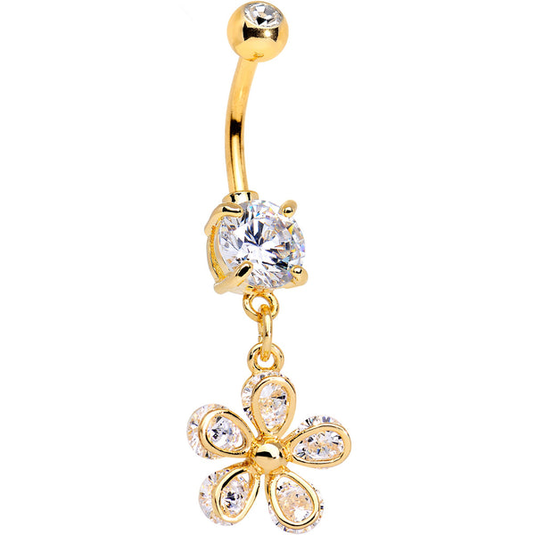 Clear Gem Gold PVD Fab Flower Dangle Belly Ring
