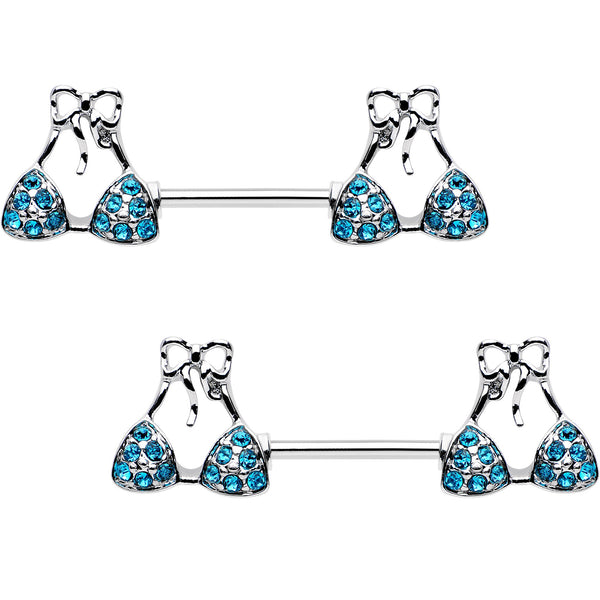 Blue Gem Summer Swimsuit Nipple Barbell Ring Set