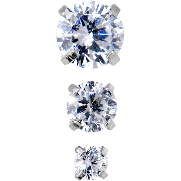 18 Gauge 5/16 Clear CZ Gem Tragus Cartilage Earring 3 Pack Set