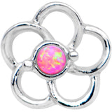 1/4 Pink Faux Opal Internally Threaded Hollow Flower Labret Monroe