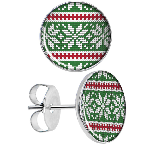 Green Red Christmas Sweater Stud Earrings