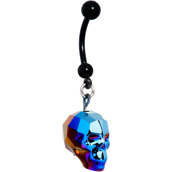 Iridescent Blue Skull Halloween Dangle Belly Ring Created with Swarovksi Crystals