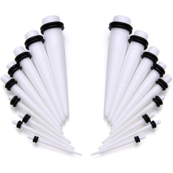 14 to 00 Gauge 18 Piece White Acrylic Ear Stretching Taper Kit Set