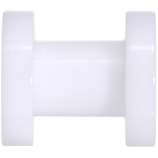 4 Gauge White Acrylic Screw Fit Tunnel Plug Set