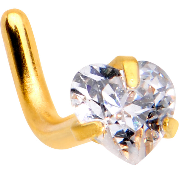 18 Gauge 1/4 Clear Heart 3mm CZ Gem Gold IP L-Shape Nose Ring
