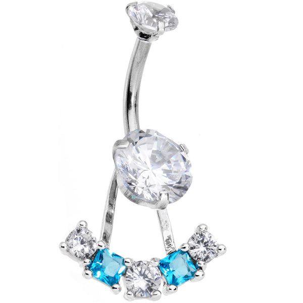 Clear Blue CZ Gem Sassy Sparkle Butterfly Dangle Belly Ring