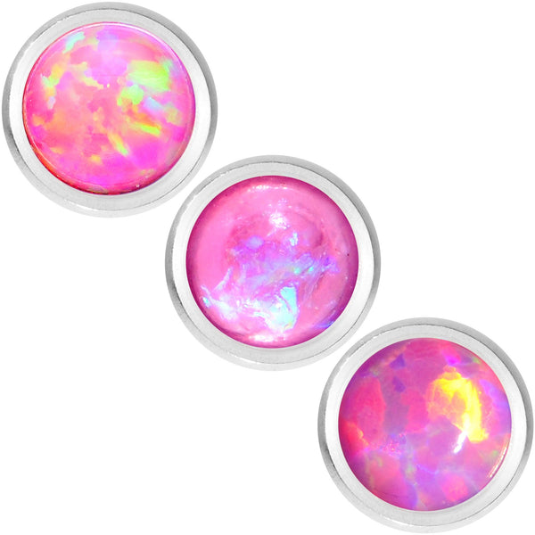 16 Gauge 1/4 Pink Faux Opal Tragus Cartilage Earring 3 Pack Set