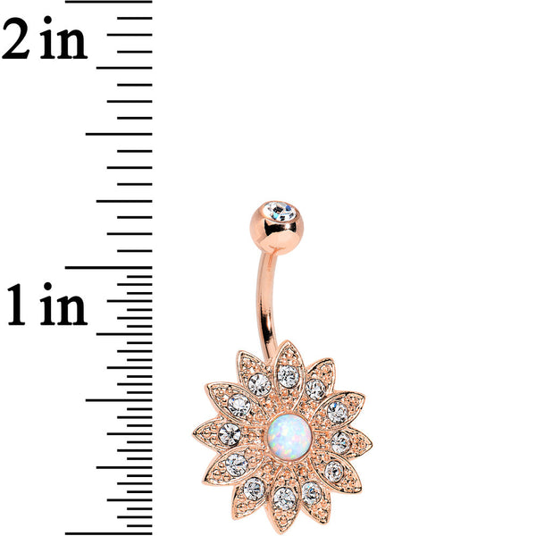 White Faux Opal Clear Rose Gold Plated Fancy Sparkle Flower Belly Ring