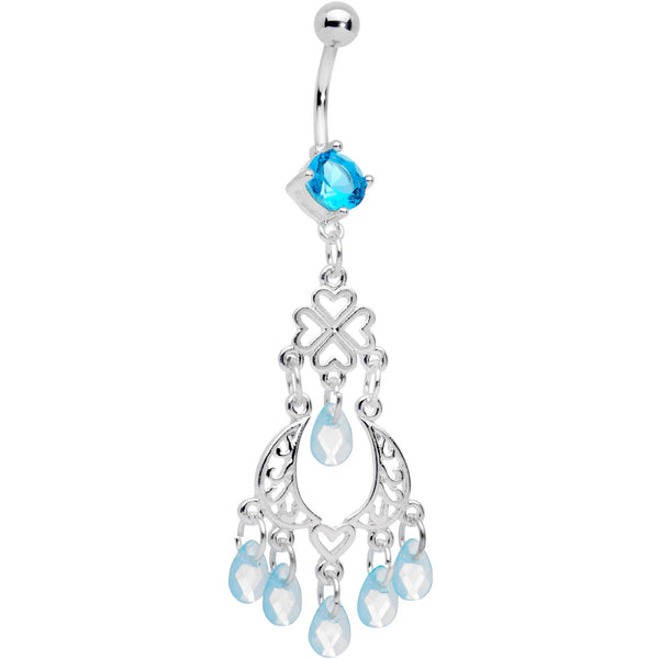 Blue Gem Clover Chandelier Dangle Belly Ring
