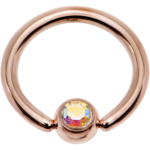 14 Gauge 3/8 Aurora Gem 4mm Ball Rose Gold IP Steel BCR Captive Ring
