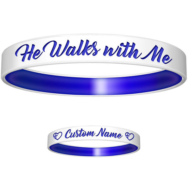 Personalized White Blue He Walks Silicone Religious Message Bracelet