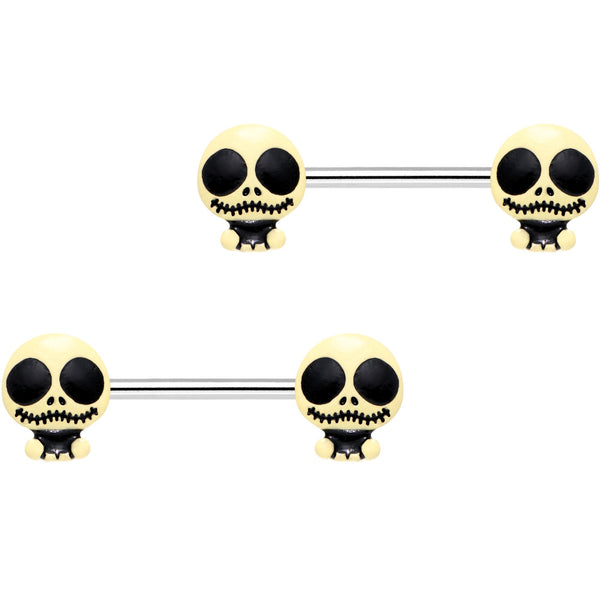 9/16 Spooky Shrunken Head Barbell Nipple Ring Set