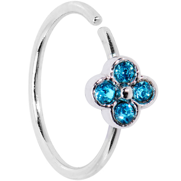 20 Gauge 3/8 Blue Gem Star Flower Seamless Circular Ring