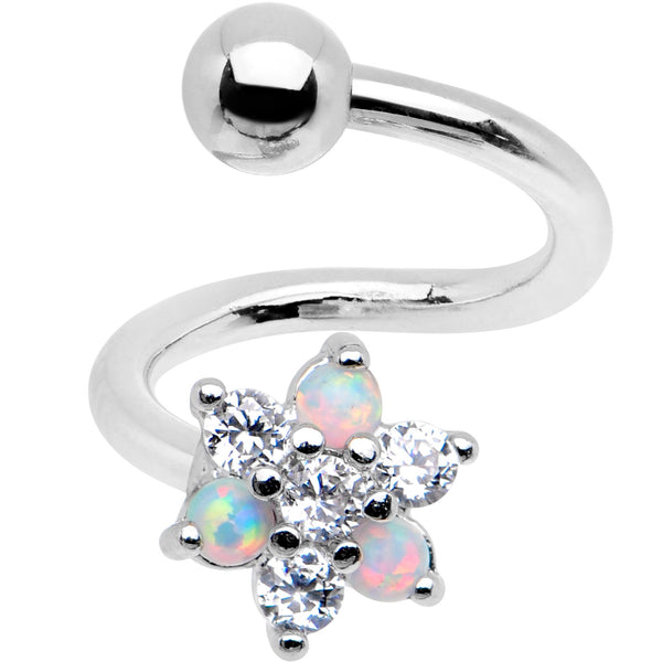 White Synthetic Opal Snowflake Spiral Twister Belly Ring