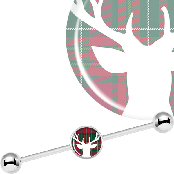14 Gauge Red Green Plaid Reindeer Industrial Barbell 37mm