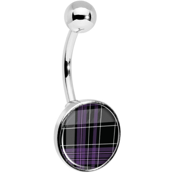Winter Purple Black Plaid Belly Ring