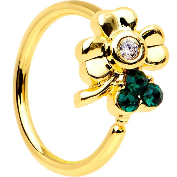 20 Gauge 5/16 Green Gem Gold PVD Clover Bow Seamless Circular Ring