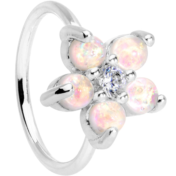 20 Gauge Clear CZ White Faux Opal Seamless Circular Ring