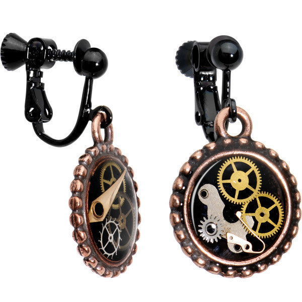 Handcrafted Steampunk Pocket Watch Movement Clip On Earrings